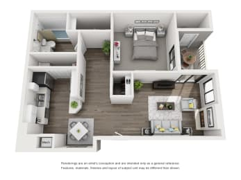aerial view of one bedroom apartment layout in morrison colorado